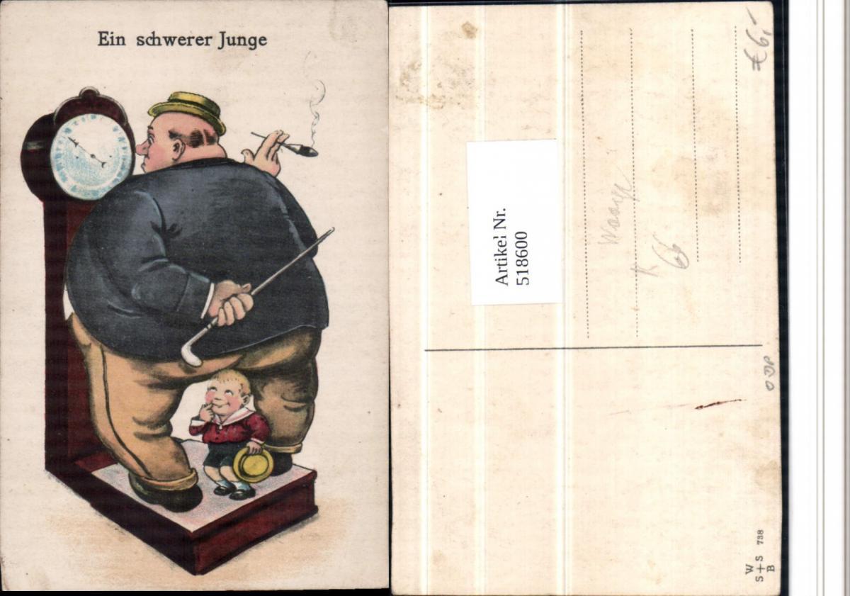 518600,Künstler AK Übergewicht Völlerei Waage Kind Rauchen Humor