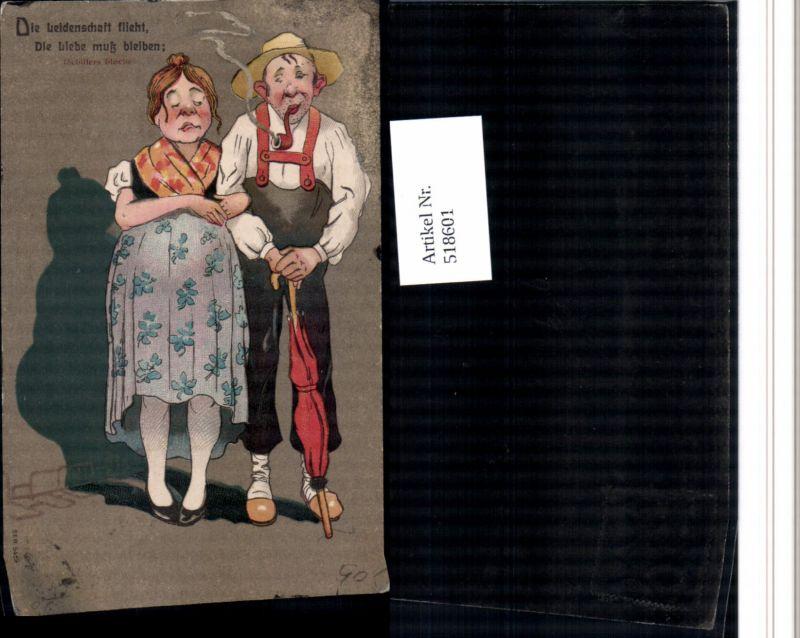 518601,Künstler AK Pfeife Rauchen Humor Schirm Frauenfeindlicher