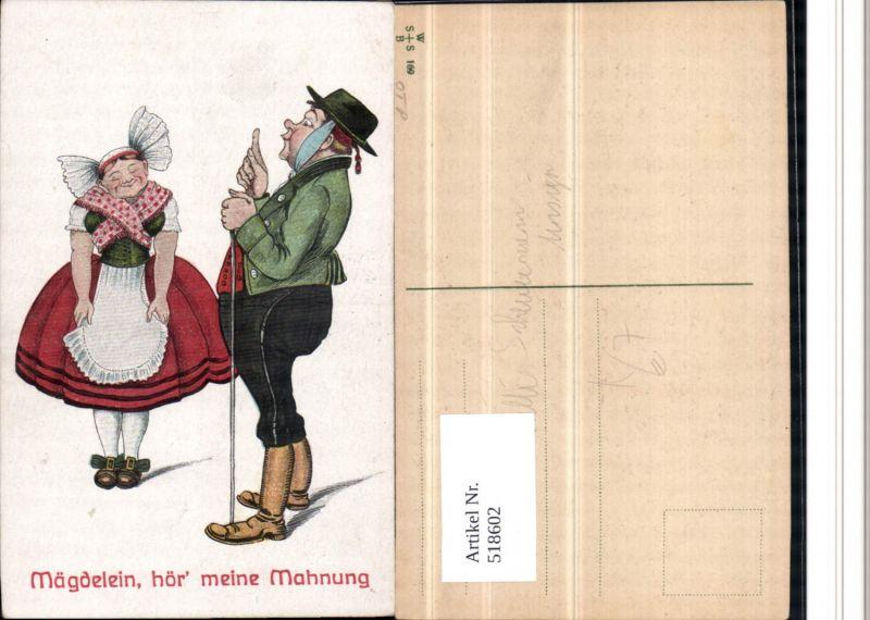 518602,Künstler AK Willi Scheuermann Zahnschmerzen Humor Mägdelein Gehstock