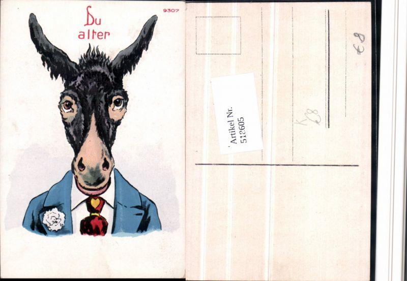 518605,Künstler AK Rebus AK Du alter Esel Humor Scherz