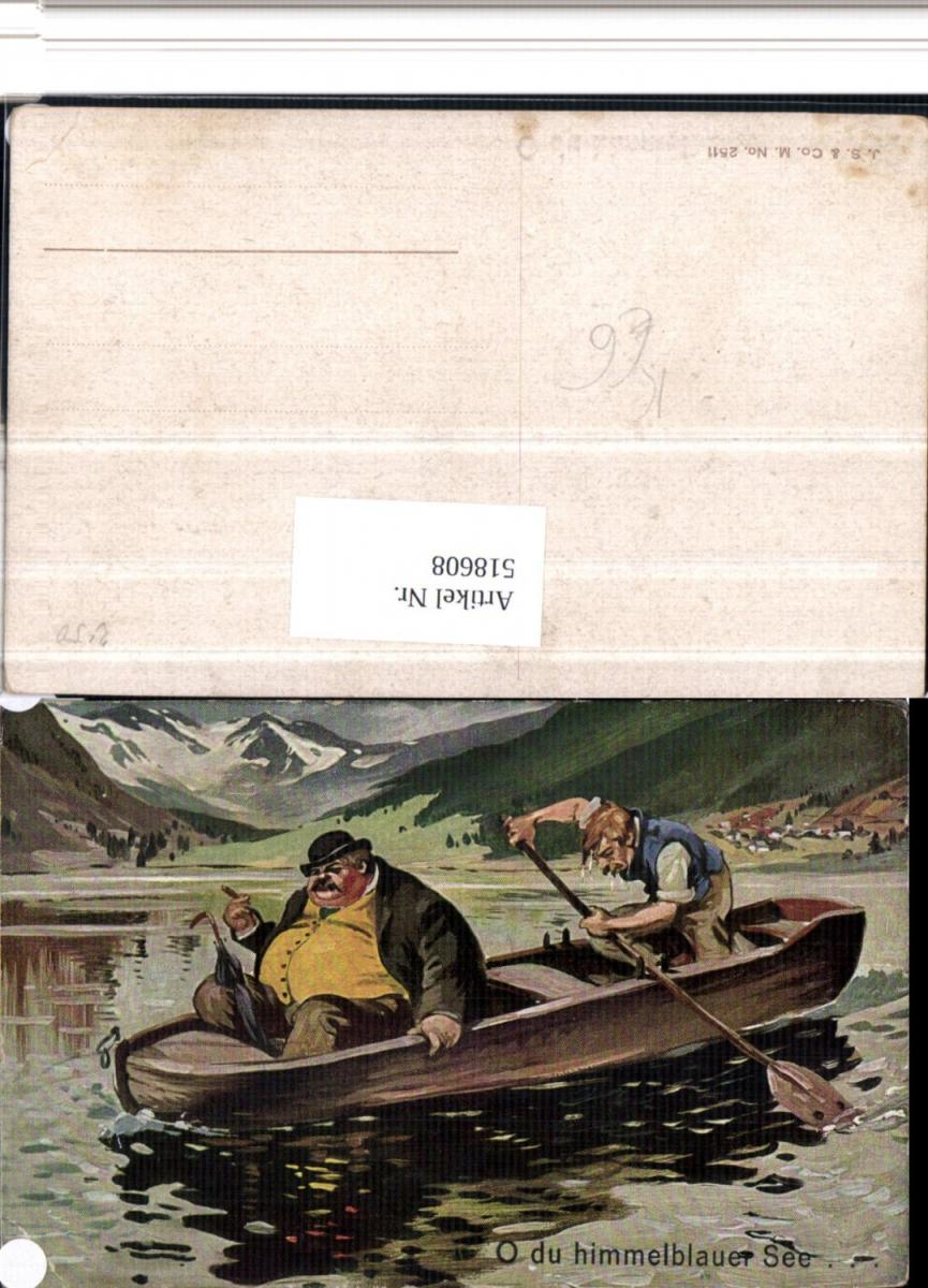 518608,Künstler AK Völlerei Übergewicht Humor Boot Rauchen Ruderboot