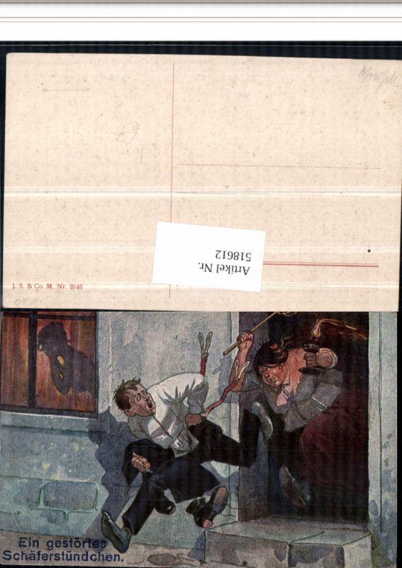 518612,Künstler AK gestörtes Schäferstündchen Frauenfeindlicher Humor