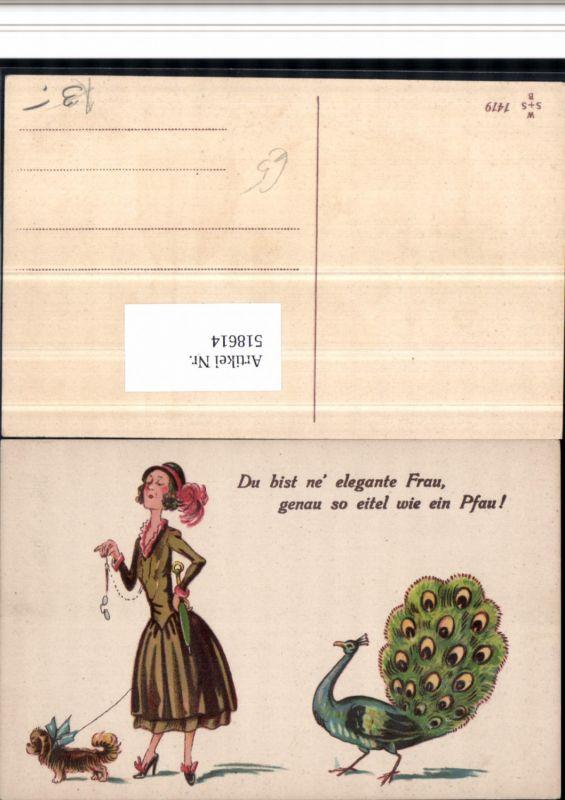 518614,Künstler AK Pfau Frau Hund Elegante Frau Frauenfeindlicher Humor