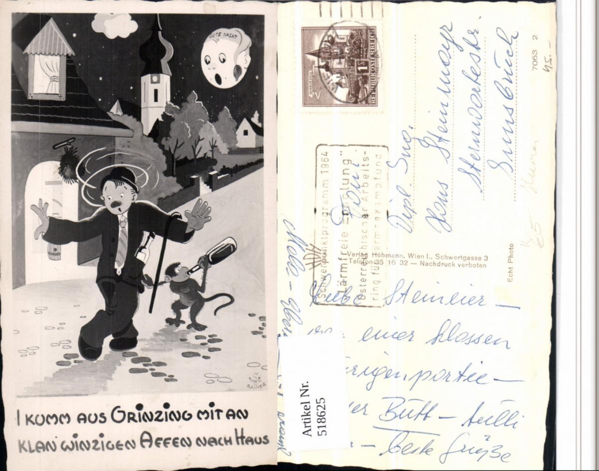 518625,Künstler AK Grinzing Trinkerhumor Betrunkener Affe Wein Mondgesicht Humor