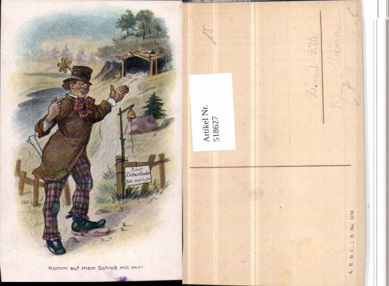 518627,Künstler AK Heinrich Zille Humor Liebeslaube Mann m. Hut Erotik
