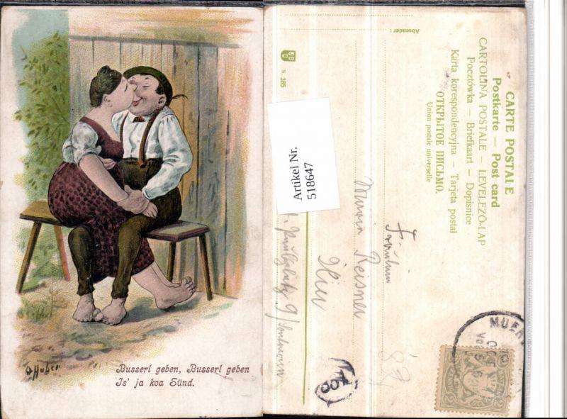 518647,Künstler AK O. Huber Humor Völlerei Übergewicht Liebe Paar Kuss