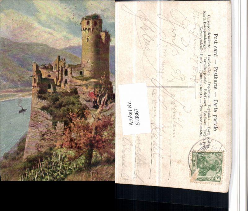 518867,Künstler AK Burg Ehrenfels b. Rüdesheim am Rhein