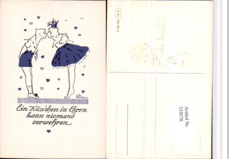519570,Künstler AK Leo Pernitsch Kuss Tanz Küsschen in Ehren L.P. Nr. 105-2