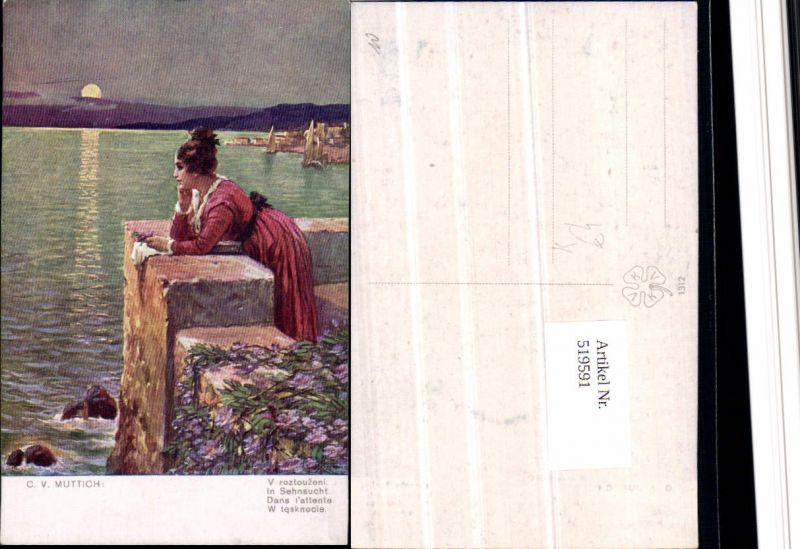 519591,Künstler AK C.v. Muttich Sehnsucht Meer Frau Liebe Mond