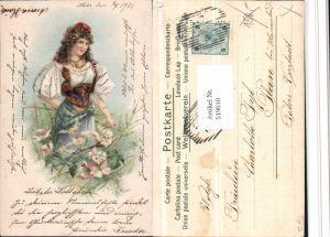 519610,Glitzer Künstler Litho Frau Tracht Type Portrait