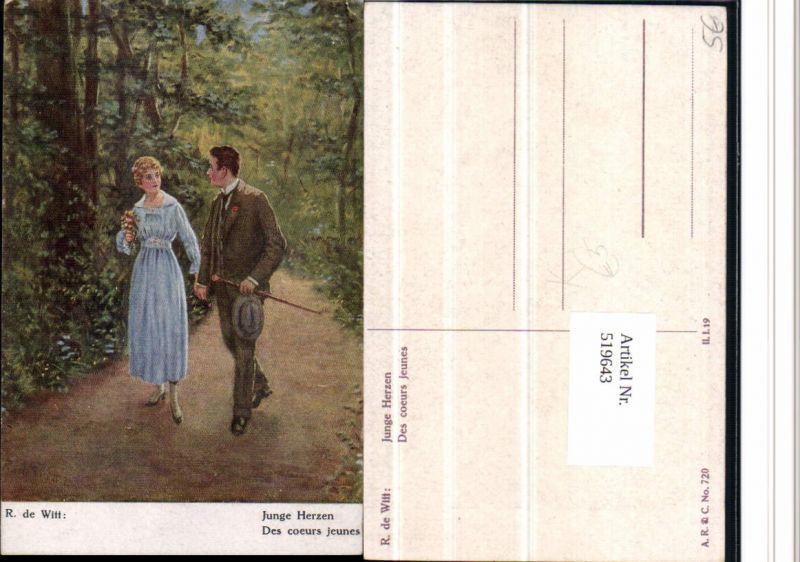 519643,Künstler AK R. De Witt Junge Herzen Liebe Paar Waldweg