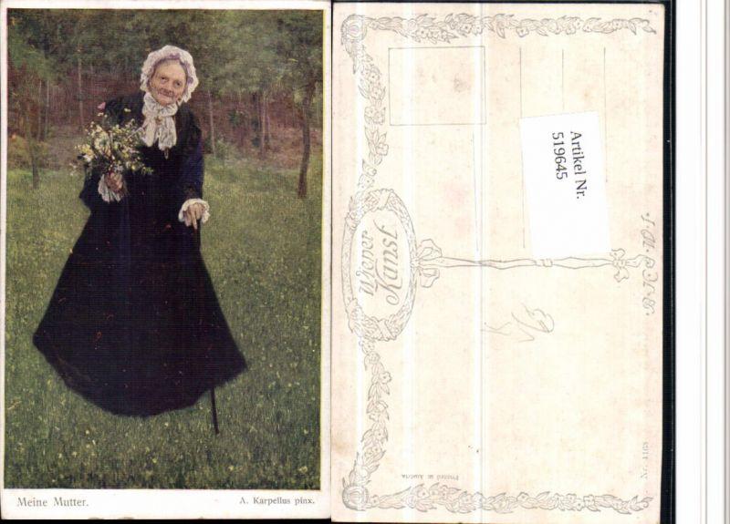 519645,Künstler AK A. Karpellus Meine Mutter Alte Frau Stock pub B.K.W.I. 1168