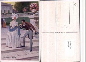 519658,Künstler AK C. Benesch Alt-Wiener Liebe Paar Handkuss Frau Kleid
