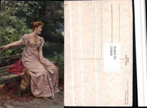 519660,Künstler AK E. Niczky wo bleibt er nur Frau Kleid Bank Tuch