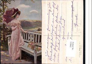 519662,Künstler AK Ed. Niczky Sehnsucht Frau Kleid Hut Schirm