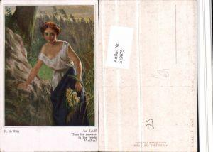 519679,Künstler AK R. De Witt Im Schilf Mädchen Kleid