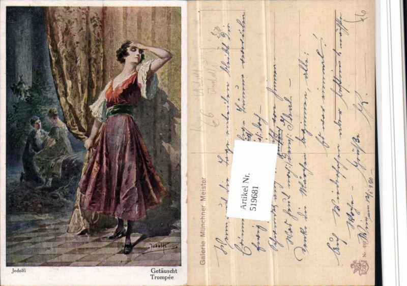 519681,Künstler AK Adolf Jodolfi Getäuscht Frau Kleid Vorhang