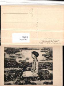 519691,Künstler AK Ferd. Hodler Knabe kniend Wiese Blumen