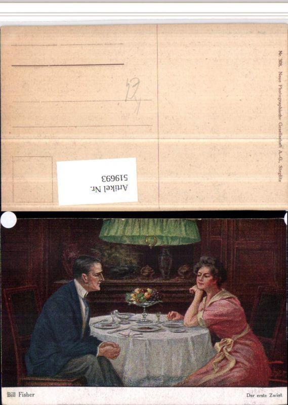 519693,Künstler AK Bill Fisher Der erste Zwist Paar Tisch Gedeck