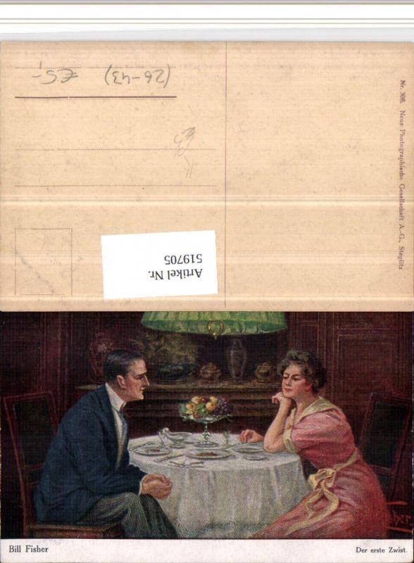 519705,Künstler AK Bill Fisher Der erste Zwist Paar Tisch Gedeck