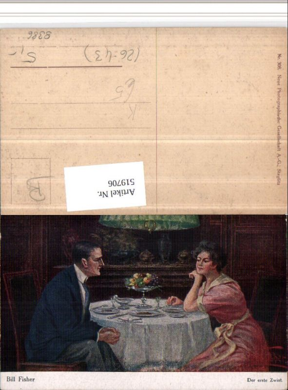519706,Künstler AK Bill Fisher Der erste Zwist Paar Tisch Gedeck