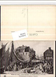 519738,Künstler AK Prince a Xavier Embarquement de bestiaux a Honfleur Segelschiff