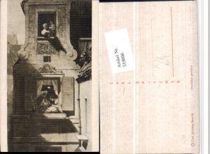 519806,Künstler AK Carl Spitzweg Mann Seil Brief Fenster