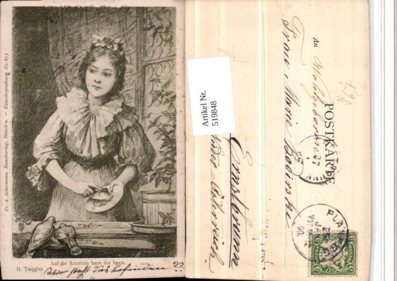 519848,Künstler AK H. Torggler Frau Krümlein Spatz pub Ackermann 673