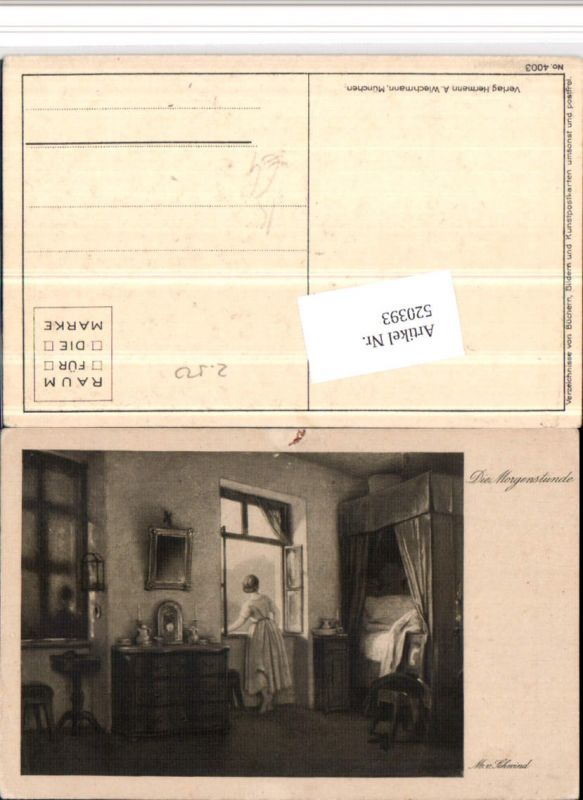 520393,Künstler AK M. v. Schwind Morgenstunde Frau Fenster
