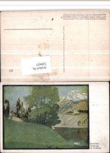 520437,Künstler AK Otto Bauriedl Simplicissimus Frühling im Gebirge Landschaft