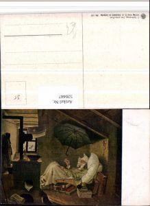 520447,Künstler AK C. Spitzweg Der arme Poet kranker Mann Schirm