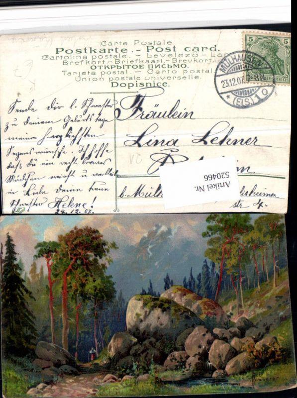 520466,Künstler AK Rob. Kämmerer Landschaft Wald Steine