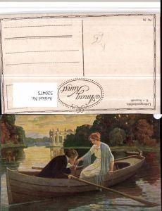 520475,Künstler AK Simplicissimus K. v. Rozynski Liebesgeständnis Liebe Paar Ruderboot