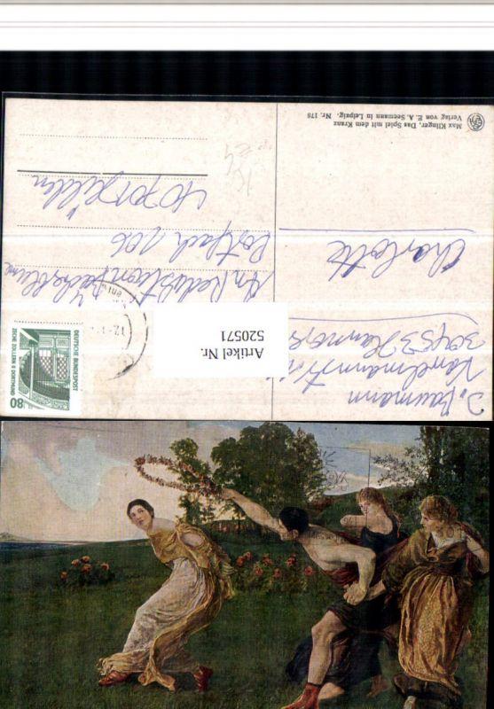520571,Künstler AK Max Klinger Das Spiel mit dem Kranz Personen Blumenkranz