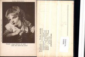 520600,Künstler AK Greuze Junges Mädchen mit Apfel pub Ottmar Zieher 126