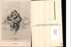 520618,Künstler AK A. Hendschel Süße Last Liebe Paar Korb