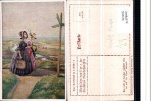 520620,Künstler AK Rudolf Konopa Frauen Kleider Wegweiser Tasche