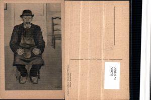 520633,Künstler AK Ferd. Hodler Sitzender Winzer Mann Hut