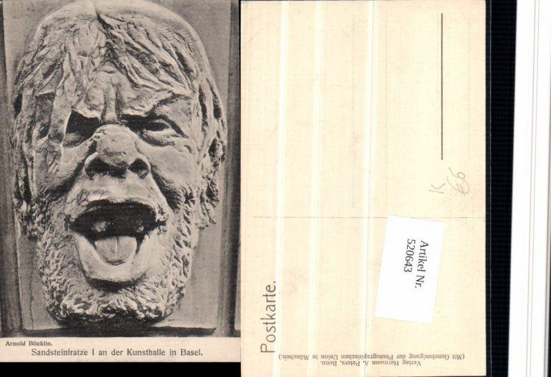 520643,Künstler AK Arnold Böcklin Sandsteinfratze I an der Kunsthalle in Basel