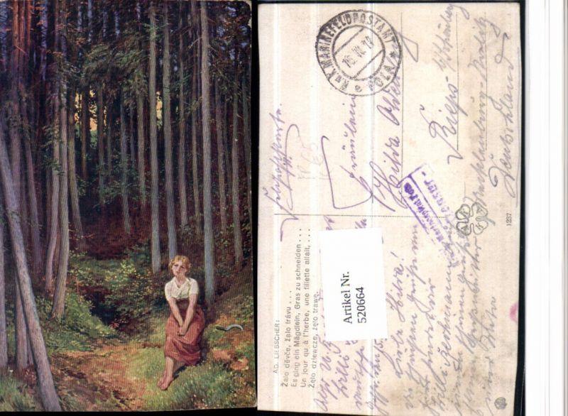 520664,Künstler AK Ad. Liebscher Frau Sense Wald Feldpost Marine Pola 1917