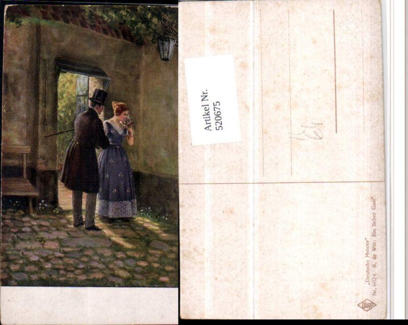 520675,Künstler AK R. De Witt Ein lieber Gast Liebe Paar Kleid