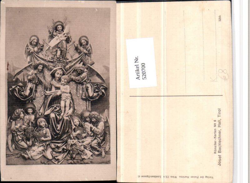 520700,Künstler AK Josef Bachlechner Maria m. Jesuskind Engeln