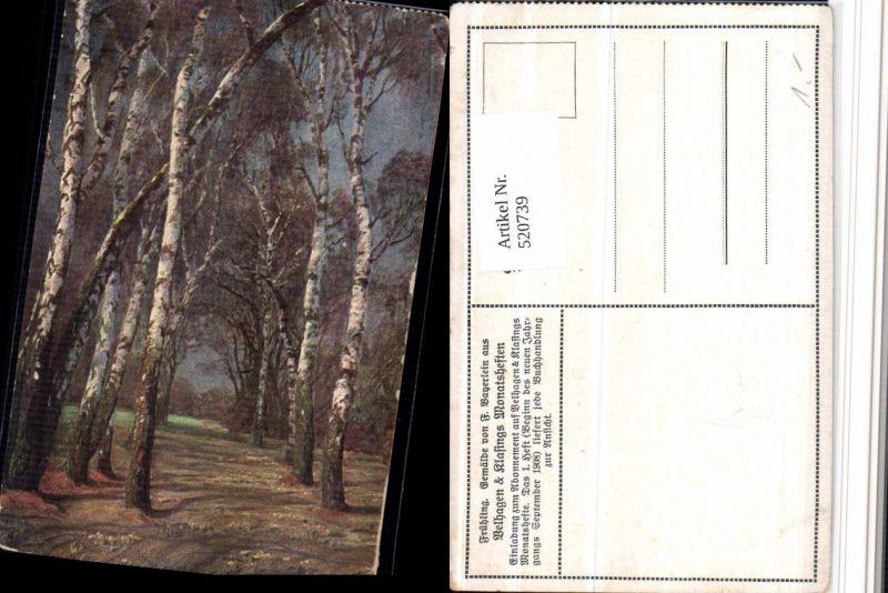 520739,Künstler AK F. Bayerlein Frühling Landschaft Birken Bäume
