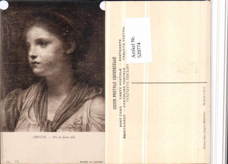 520774,Künstler AK Greuze Tete de Jeune fille Mädchen Portrait