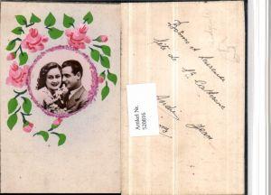 520816,Künstler AK Handgemalt Rosen Glitzer aufgeklebtes Bild Liebe Paar
