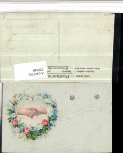 520840,Künstler AK Handgemalt Blumen geritzt aufgeklebtes Herz Blumen Hände