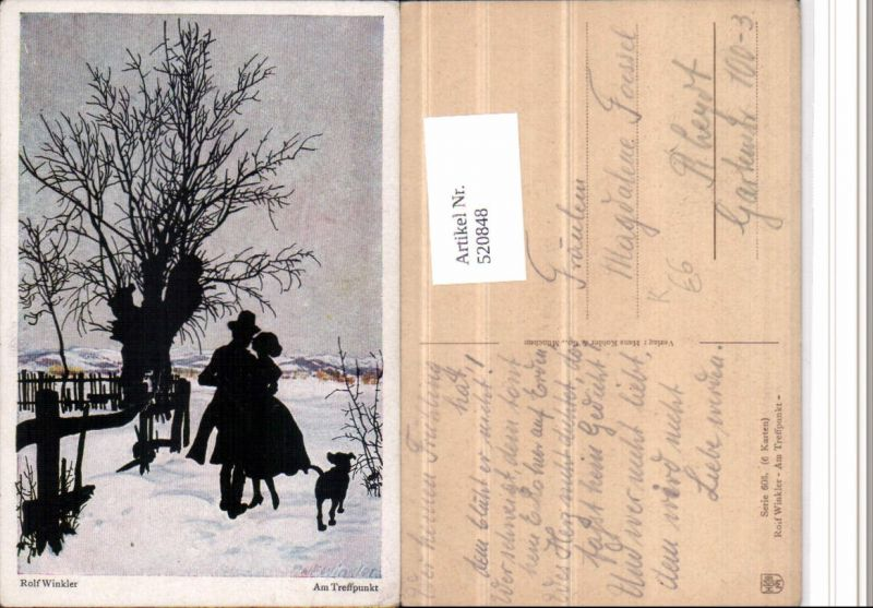 520848,Künstler AK Scherenschnitt Silhouette Rolf Winkler Am Treffpunkt Liebe Winter