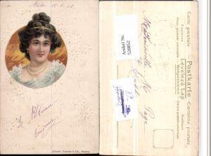 520852,Jugendstil Präge Künstler Litho Raphael Kirchner Frau Kette Portrait