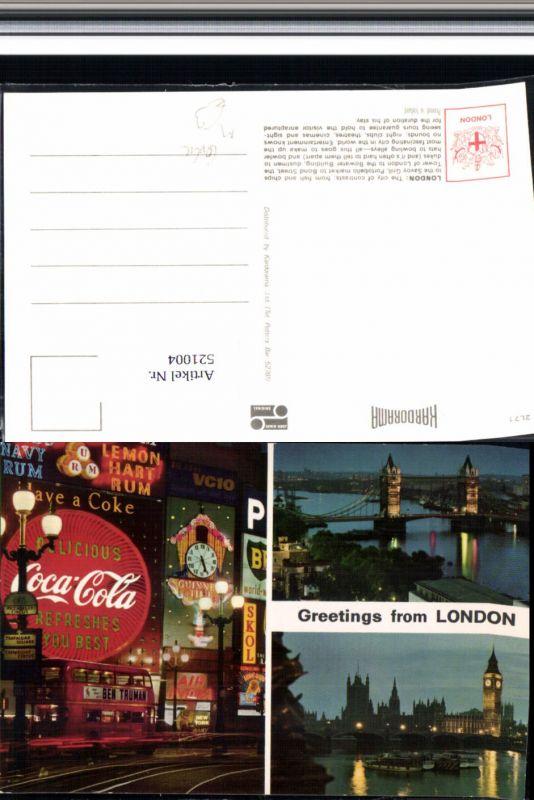521004,Reklame AK Coca Cola Schild London Bus Autobus