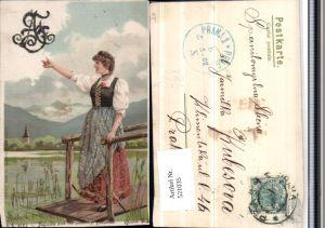 521035,Glitzer Künstler Litho Alfred Mailick Frau Tracht Steg pub Erika 1063